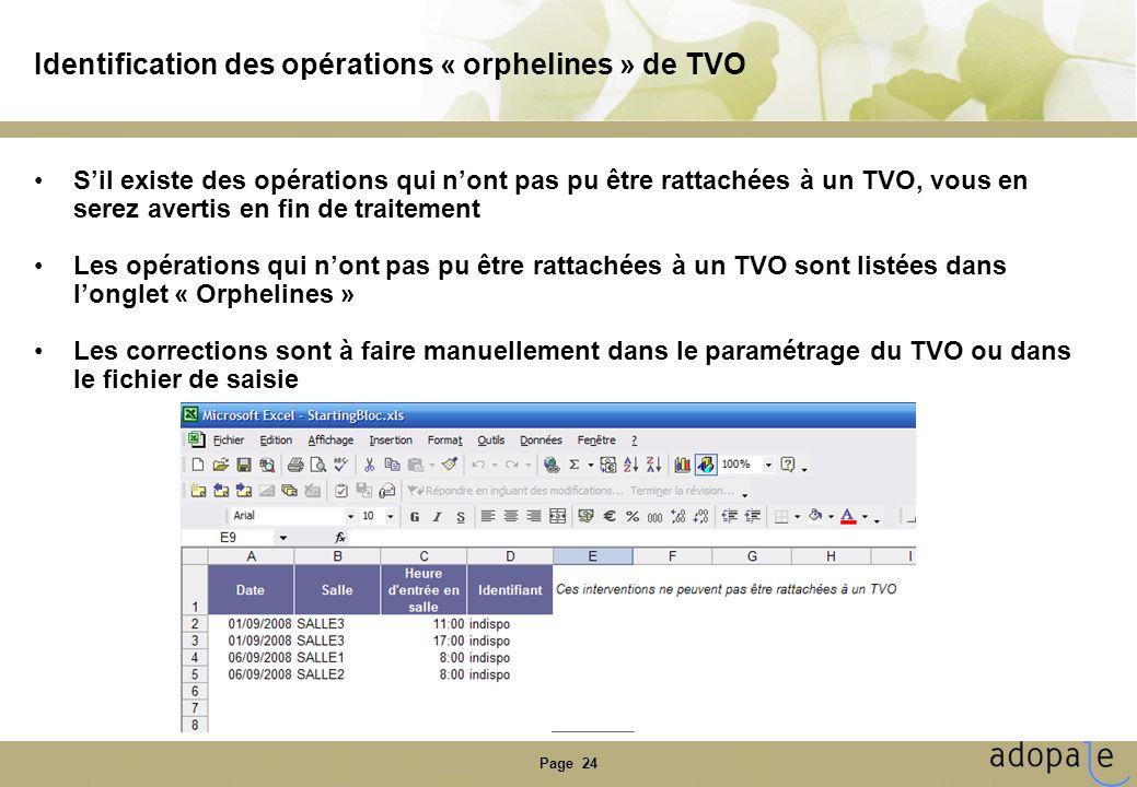 Page 24 Identification des opérations « orphelines » de TVO Sil existe des opérations qui nont pas pu être rattachées à un TVO, vous en serez avertis