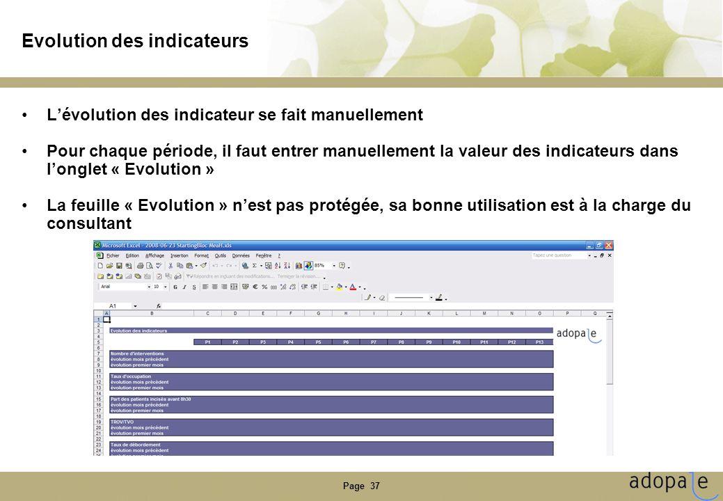 Page 37 Evolution des indicateurs Lévolution des indicateur se fait manuellement Pour chaque période, il faut entrer manuellement la valeur des indica