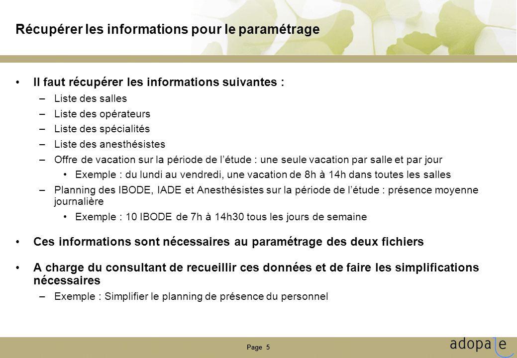 Page 5 Récupérer les informations pour le paramétrage Il faut récupérer les informations suivantes : –Liste des salles –Liste des opérateurs –Liste de