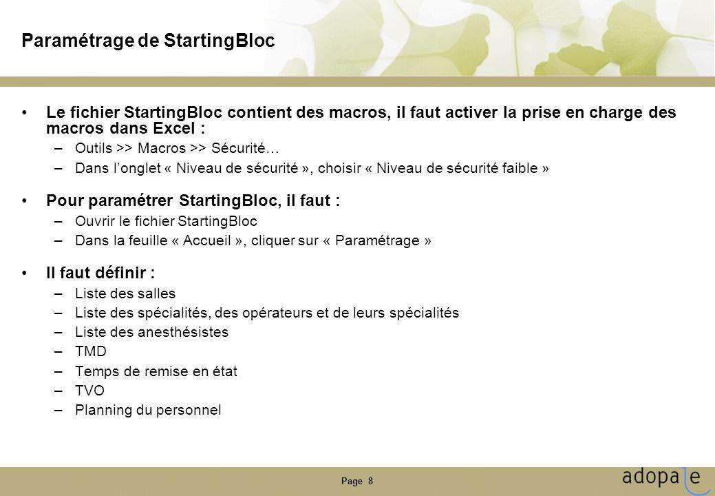 Page 8 Paramétrage de StartingBloc Le fichier StartingBloc contient des macros, il faut activer la prise en charge des macros dans Excel : –Outils >>