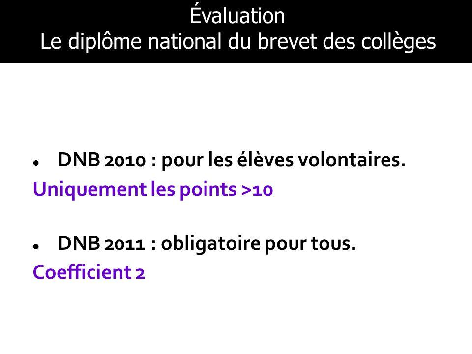 DNB 2010 : pour les élèves volontaires. Uniquement les points >10 DNB 2011 : obligatoire pour tous. Coefficient 2 Évaluation Le diplôme national du br