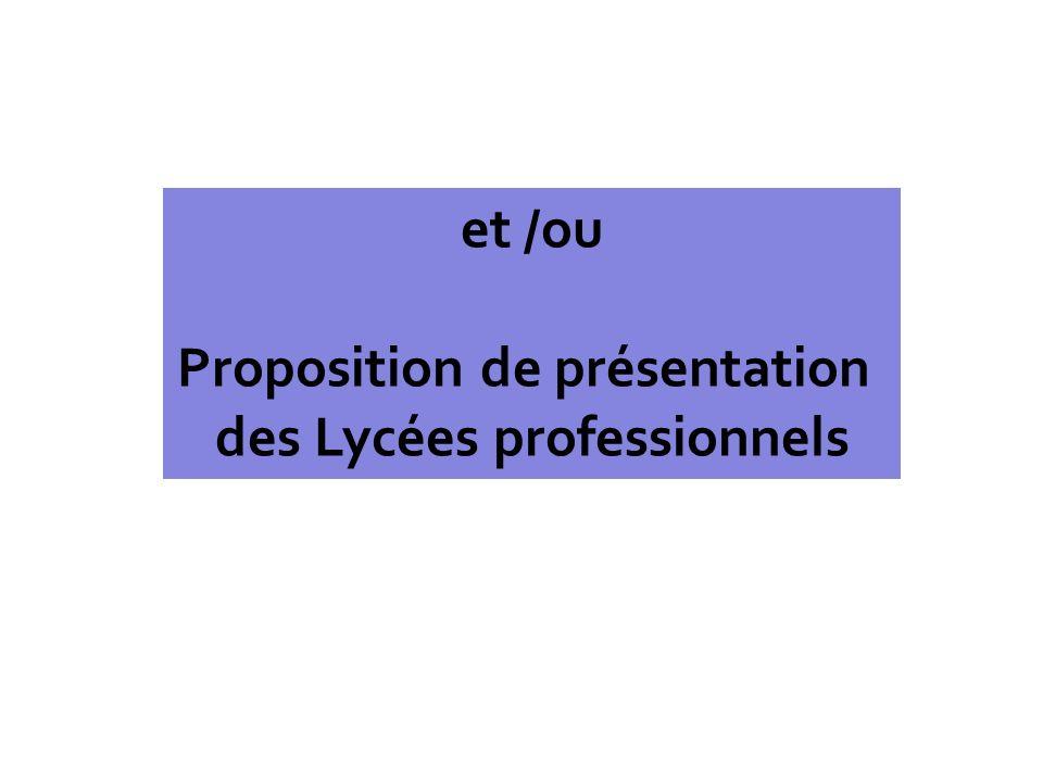 et /ou Proposition de présentation des Lycées professionnels