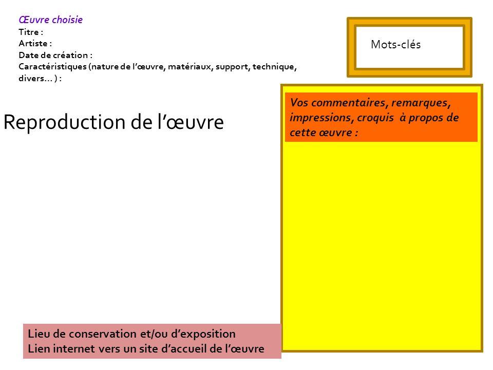 Reproduction de lœuvre Lieu de conservation et/ou dexposition Lien internet vers un site daccueil de lœuvre Vos commentaires, remarques, impressions,