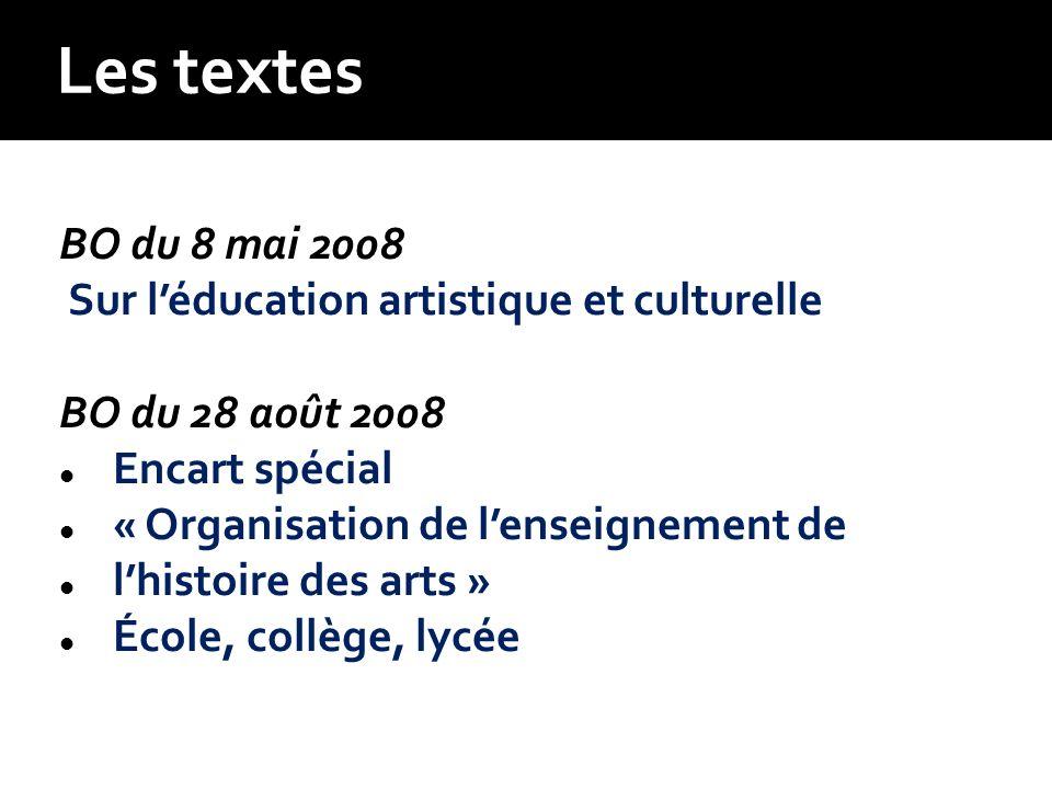 BO du 8 mai 2008 Sur léducation artistique et culturelle BO du 28 août 2008 Encart spécial « Organisation de lenseignement de lhistoire des arts » Éco