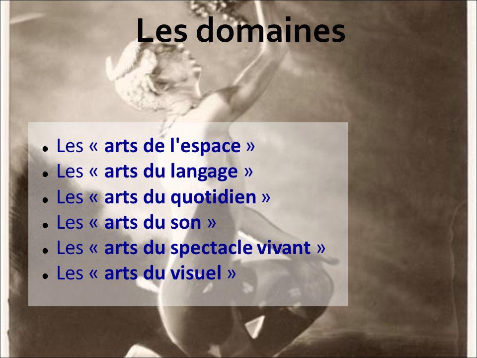 Les domaines Les « arts de l'espace » Les « arts du langage » Les « arts du quotidien » Les « arts du son » Les « arts du spectacle vivant » Les « art