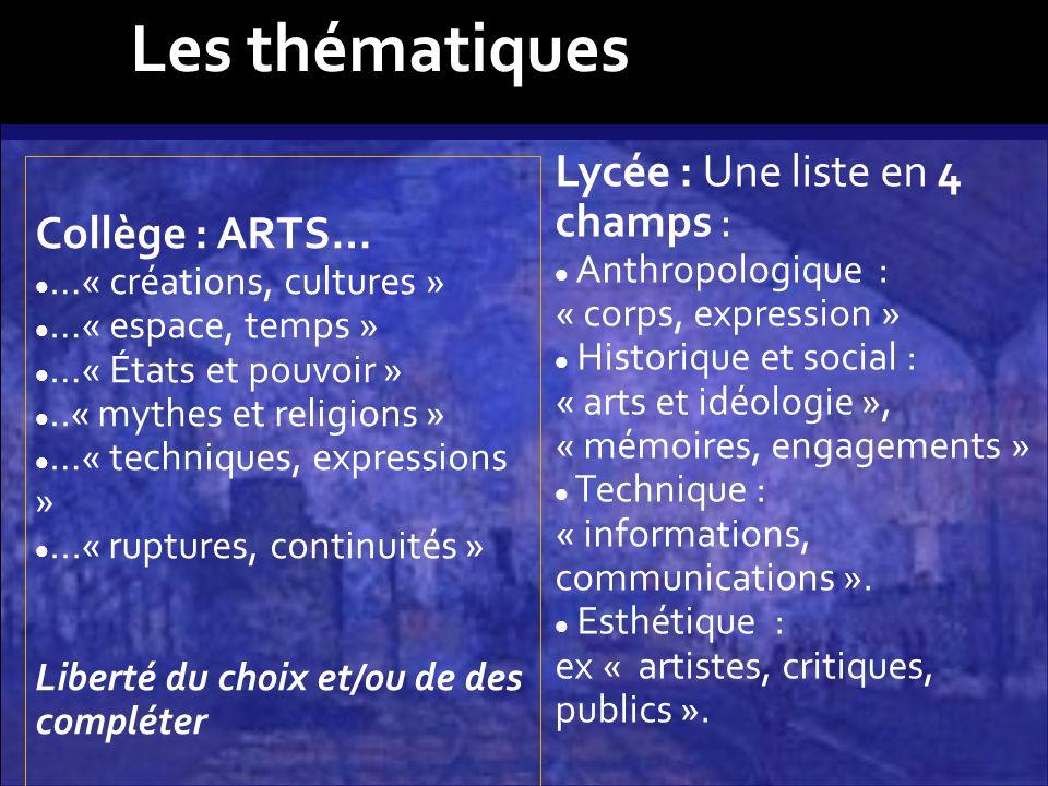 Collège : ARTS… …« créations, cultures » …« espace, temps » …« États et pouvoir »..« mythes et religions » …« techniques, expressions »...« ruptures,