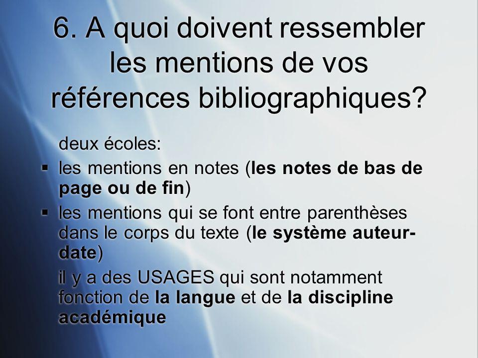 6.A quoi doivent ressembler les mentions de vos références bibliographiques.