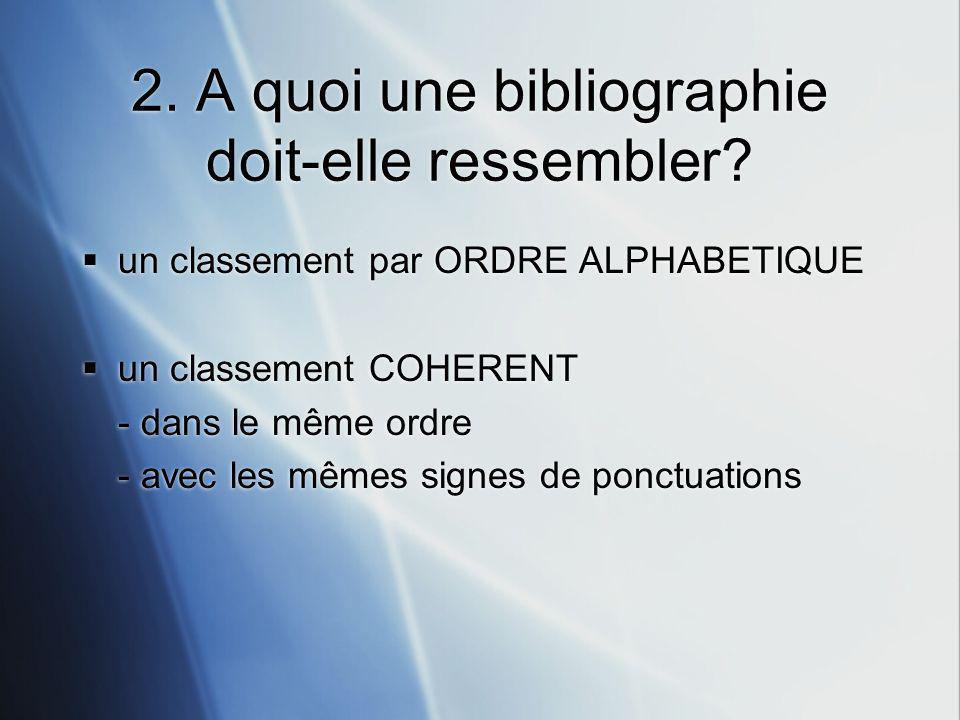 2.A quoi une bibliographie doit-elle ressembler.