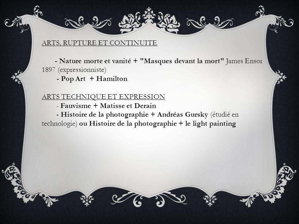 ARTS, RUPTURE ET CONTINUITE - Nature morte et vanité +