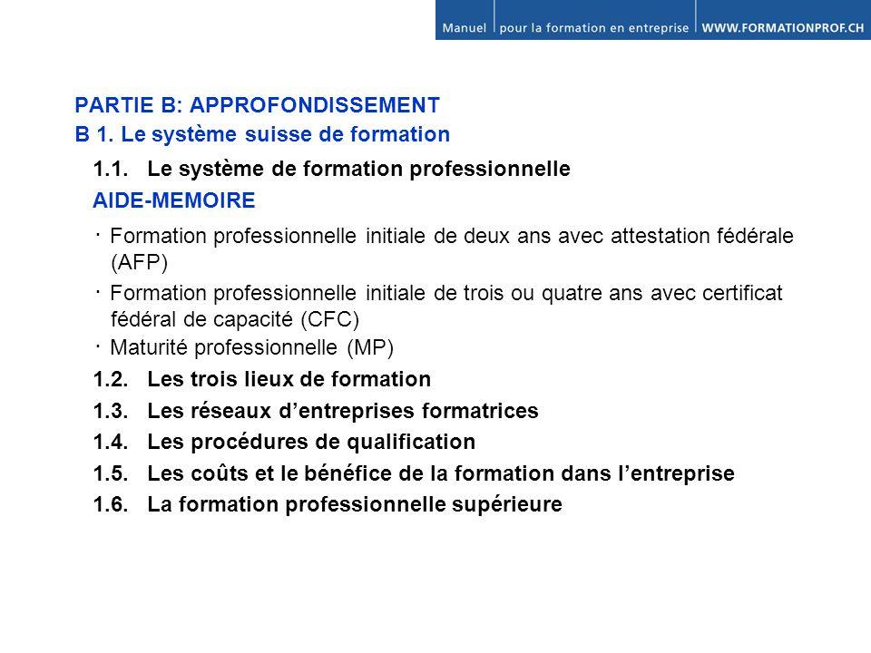 PARTIE B: APPROFONDISSEMENT B 1.Le système suisse de formation 1.1.