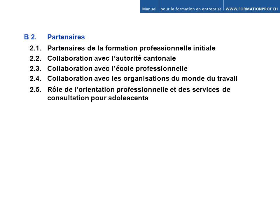 B 2.Partenaires 2.1. Partenaires de la formation professionnelle initiale 2.2.