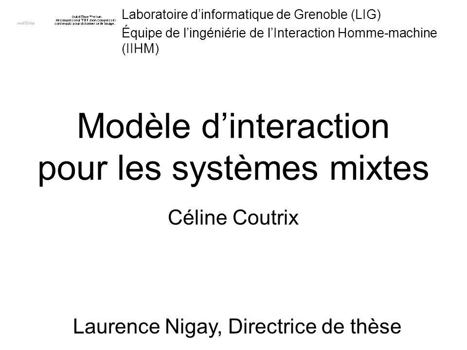 Laboratoire dinformatique de Grenoble (LIG) Équipe de lingéniérie de lInteraction Homme-machine (IIHM) Modèle dinteraction pour les systèmes mixtes Cé