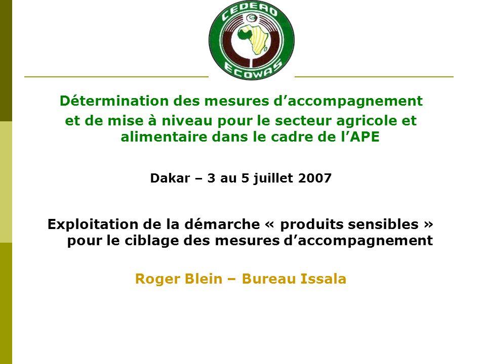 Détermination des mesures daccompagnement et de mise à niveau pour le secteur agricole et alimentaire dans le cadre de lAPE Dakar – 3 au 5 juillet 2007 Exploitation de la démarche « produits sensibles » pour le ciblage des mesures daccompagnement Roger Blein – Bureau Issala