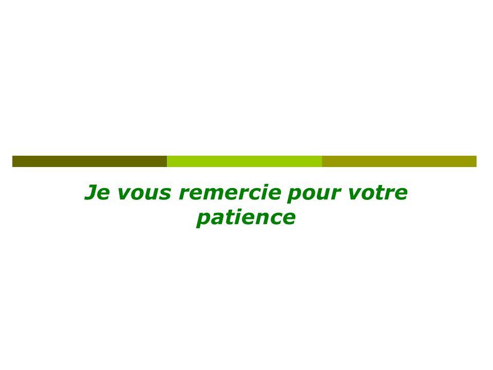 Je vous remercie pour votre patience