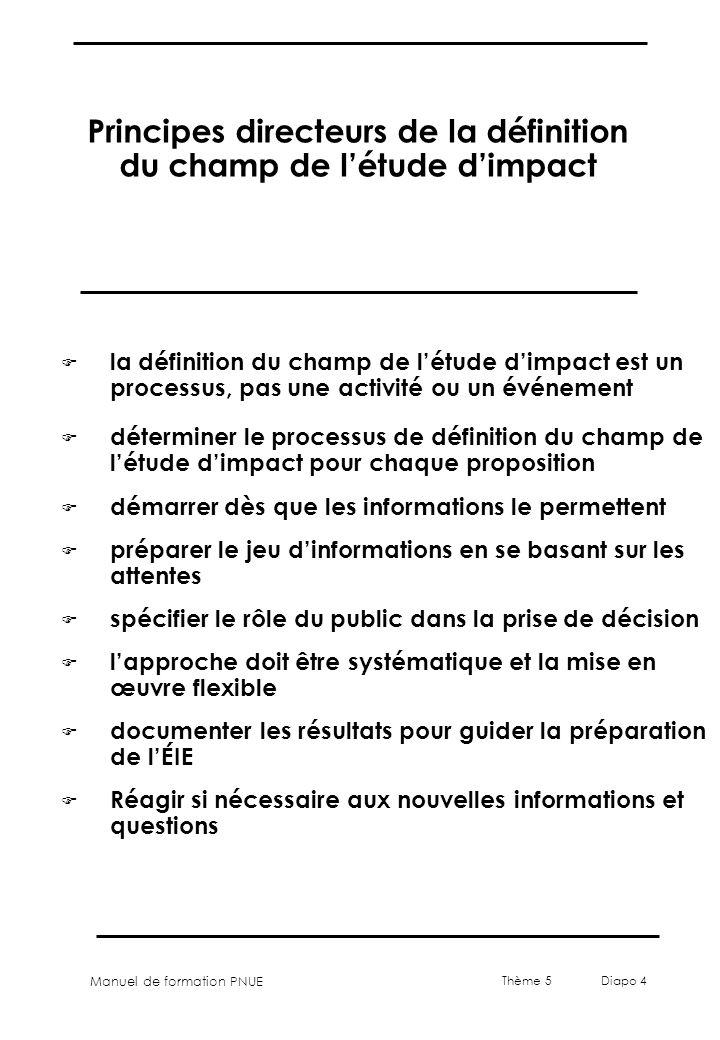 Manuel de formation PNUE Thème 5 Diapo 4 Principes directeurs de la définition du champ de létude dimpact F la définition du champ de létude dimpact e
