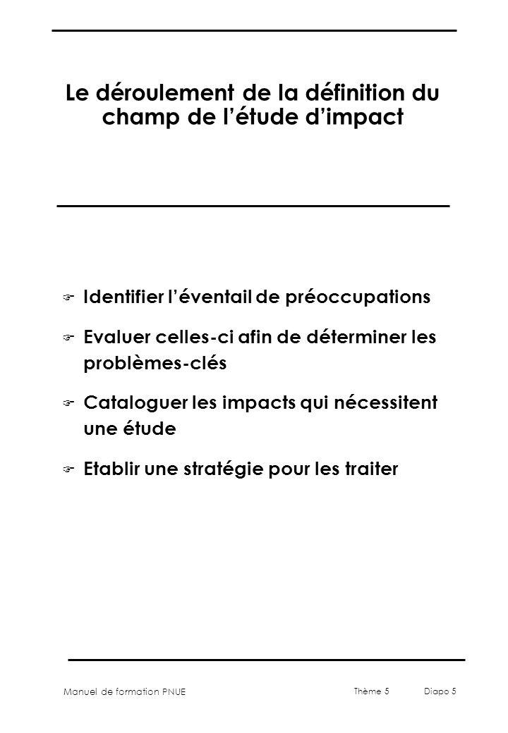 Manuel de formation PNUE Thème 5 Diapo 5 Le déroulement de la définition du champ de létude dimpact F Identifier léventail de préoccupations F Evaluer