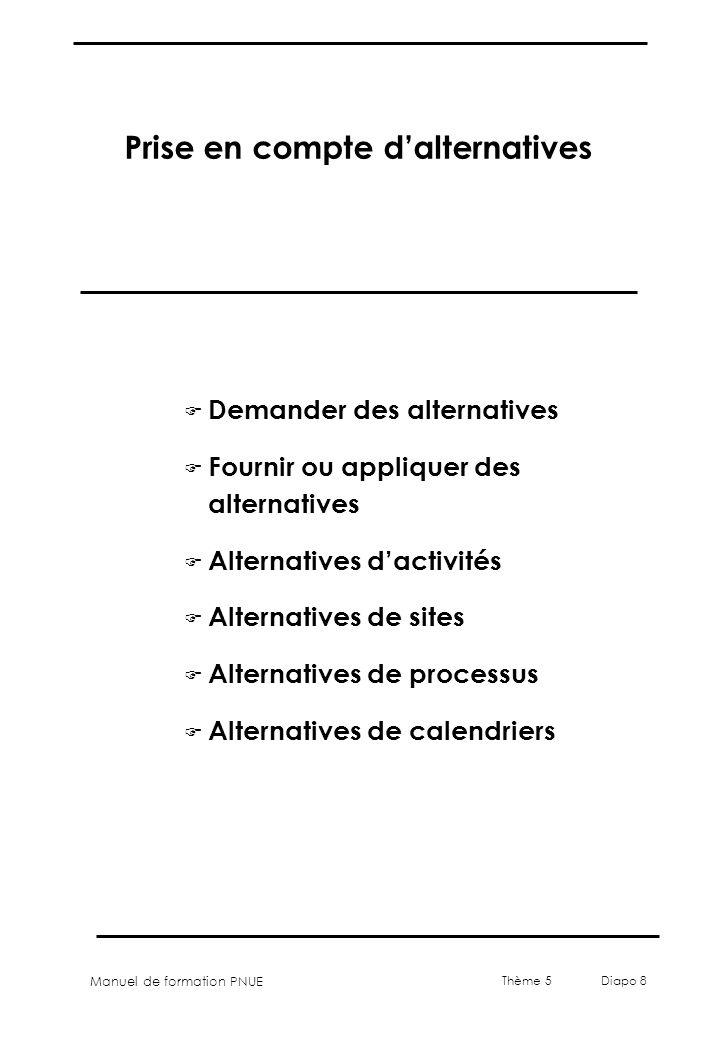 Manuel de formation PNUE Thème 5 Diapo 8 Prise en compte dalternatives F Demander des alternatives F Fournir ou appliquer des alternatives F Alternati