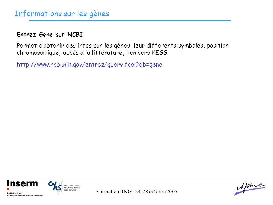 Formation RNG - 24-28 octobre 2005 Informations sur les gènes http://www.ncbi.nih.gov/entrez/query.fcgi db=gene Entrez Gene sur NCBI Permet dobtenir des infos sur les gènes, leur différents symboles, position chromosomique, accès à la littérature, lien vers KEGG