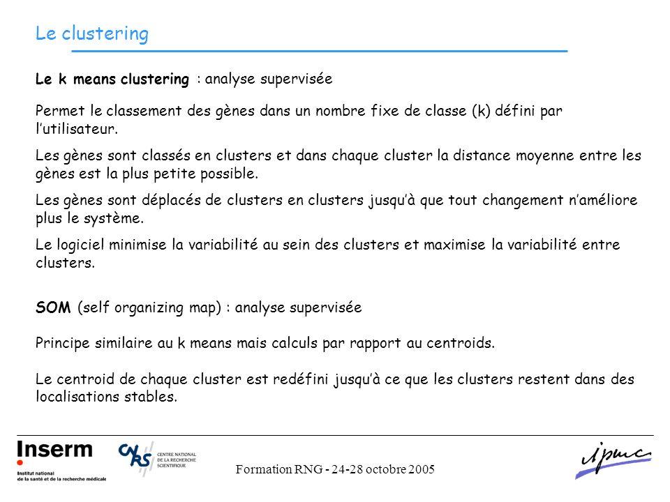 Formation RNG - 24-28 octobre 2005 Le clustering Le k means clustering : analyse supervisée Permet le classement des gènes dans un nombre fixe de classe (k) défini par lutilisateur.