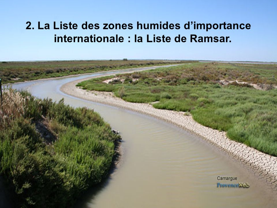 2. La Liste des zones humides dimportance internationale : la Liste de Ramsar.