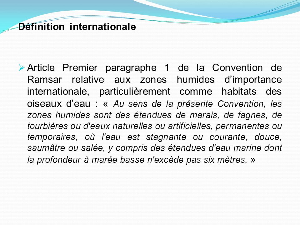 Définition internationale Article Premier paragraphe 1 de la Convention de Ramsar relative aux zones humides dimportance internationale, particulièrem