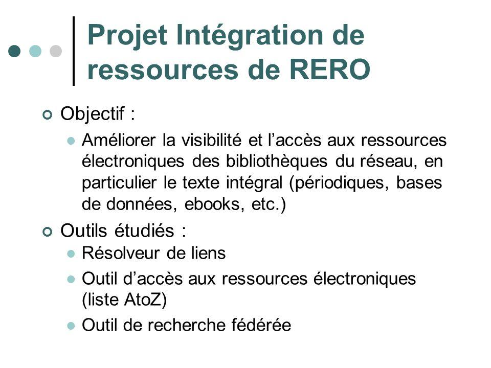 Projet Intégration de ressources de RERO Objectif : Améliorer la visibilité et laccès aux ressources électroniques des bibliothèques du réseau, en par