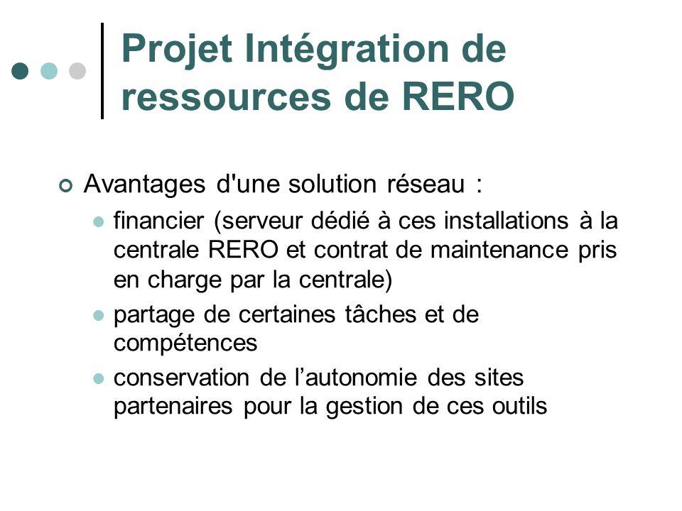 Projet Intégration de ressources de RERO Avantages d'une solution réseau : financier (serveur dédié à ces installations à la centrale RERO et contrat