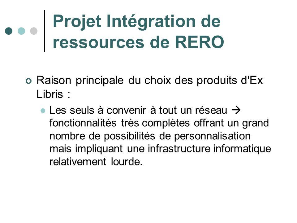 Projet Intégration de ressources de RERO Raison principale du choix des produits d'Ex Libris : Les seuls à convenir à tout un réseau fonctionnalités t