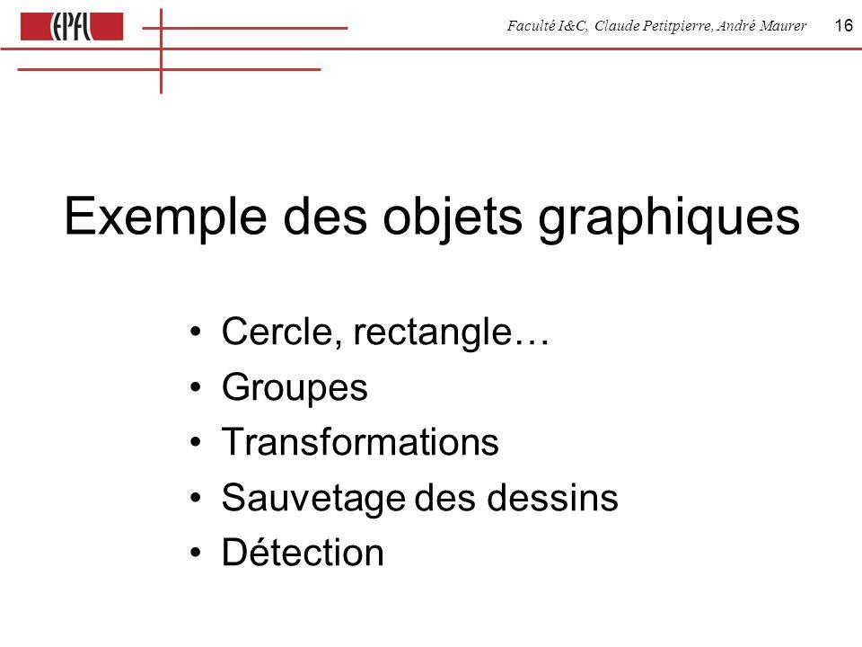 Faculté I&C, Claude Petitpierre, André Maurer 16 Exemple des objets graphiques Cercle, rectangle… Groupes Transformations Sauvetage des dessins Détection