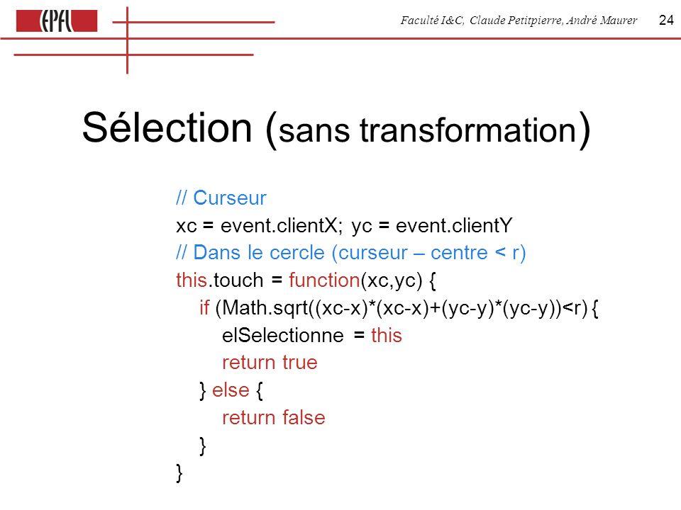 Faculté I&C, Claude Petitpierre, André Maurer 24 Sélection ( sans transformation ) // Curseur xc = event.clientX; yc = event.clientY // Dans le cercle (curseur – centre < r) this.touch = function(xc,yc) { if (Math.sqrt((xc-x)*(xc-x)+(yc-y)*(yc-y))<r) { elSelectionne = this return true } else { return false } }