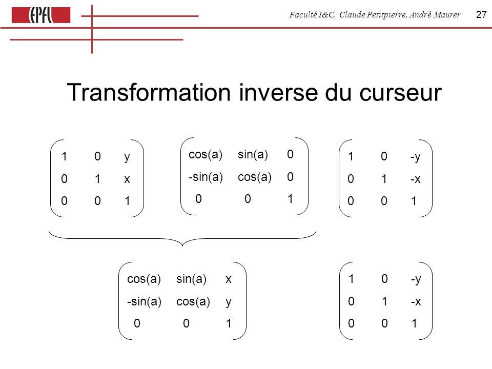 Faculté I&C, Claude Petitpierre, André Maurer 27 Transformation inverse du curseur cos(a)sin(a)0 -sin(a)cos(a)0 0 01 10-y 01-x 001 10y01x00110y01x001 cos(a)sin(a)x -sin(a)cos(a)y 0 01 10-y 01-x 001