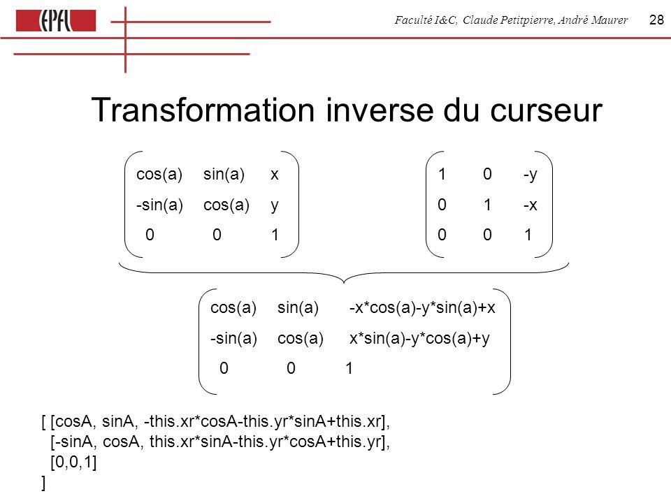 Faculté I&C, Claude Petitpierre, André Maurer 28 Transformation inverse du curseur cos(a)sin(a)x -sin(a)cos(a)y 0 01 10-y 01-x 001 [ [cosA, sinA, -thi