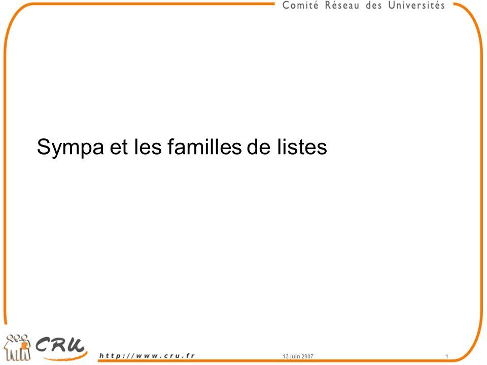 13 juin 20071 Sympa et les familles de listes