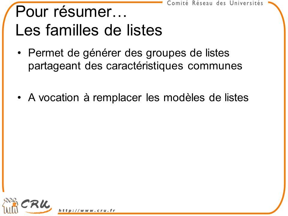 Pour résumer… Les familles de listes Permet de générer des groupes de listes partageant des caractéristiques communes A vocation à remplacer les modèles de listes