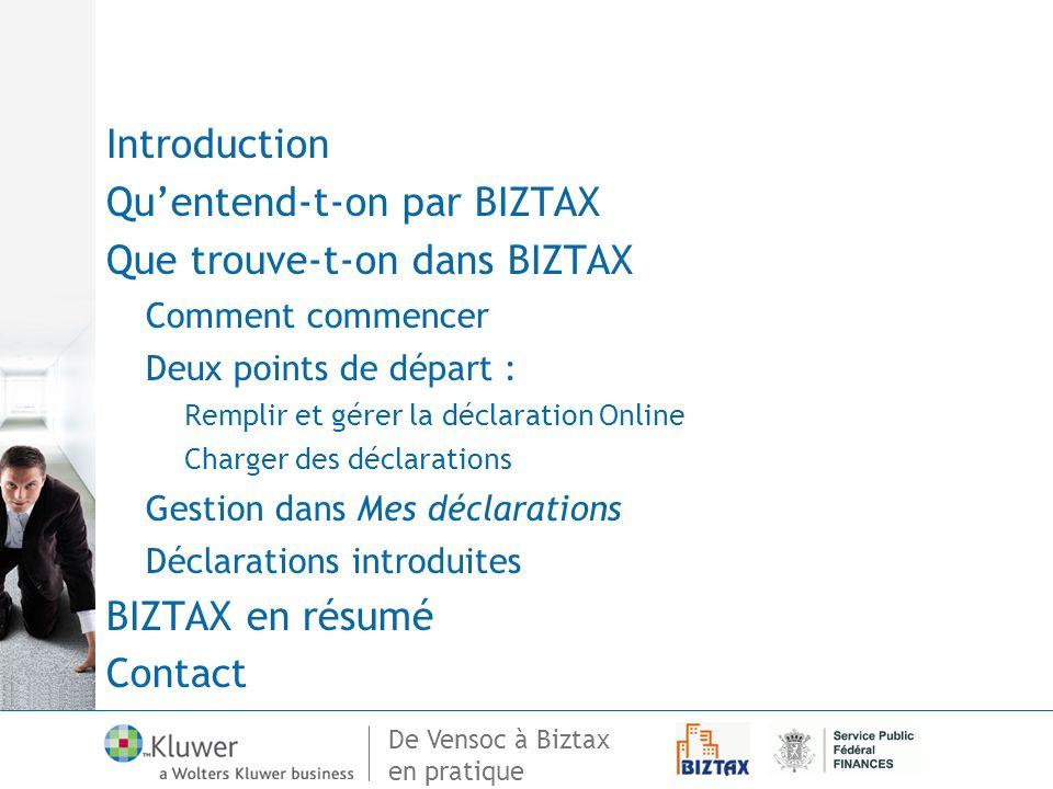en pratique Introduction Quentend-t-on par BIZTAX Que trouve-t-on dans BIZTAX Comment commencer Deux points de départ : Remplir et gérer la déclaratio