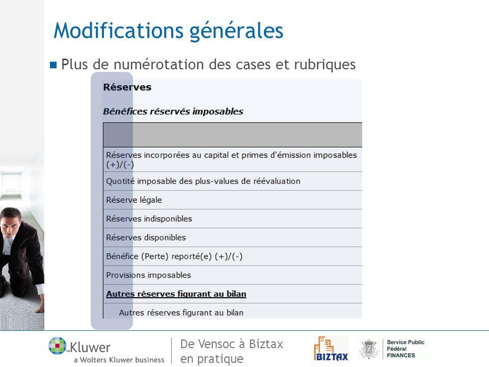 De Vensoc à Biztax en pratique Modifications générales Plus de numérotation des cases et rubriques