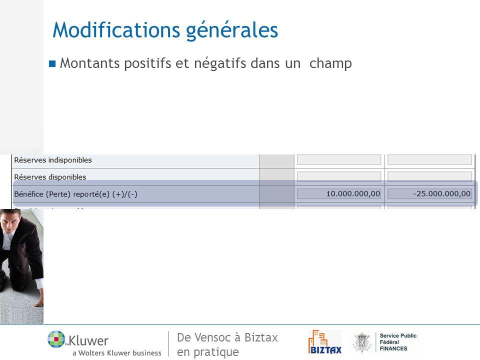 De Vensoc à Biztax en pratique Modifications générales Montants positifs et négatifs dans un champ