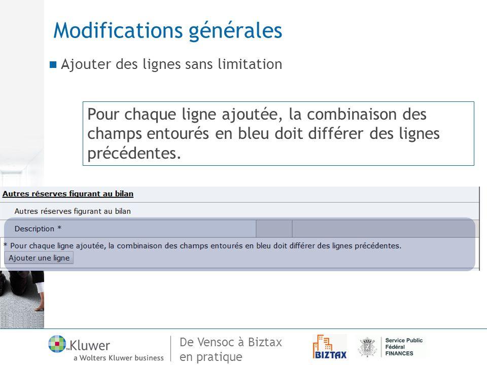 De Vensoc à Biztax en pratique Modifications générales Ajouter des lignes sans limitation Pour chaque ligne ajoutée, la combinaison des champs entouré