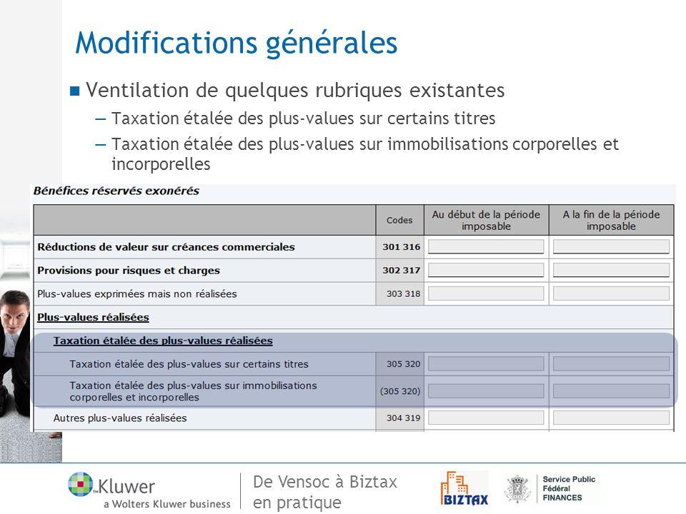 De Vensoc à Biztax en pratique Modifications générales Ventilation de quelques rubriques existantes Taxation étalée des plus-values sur certains titre