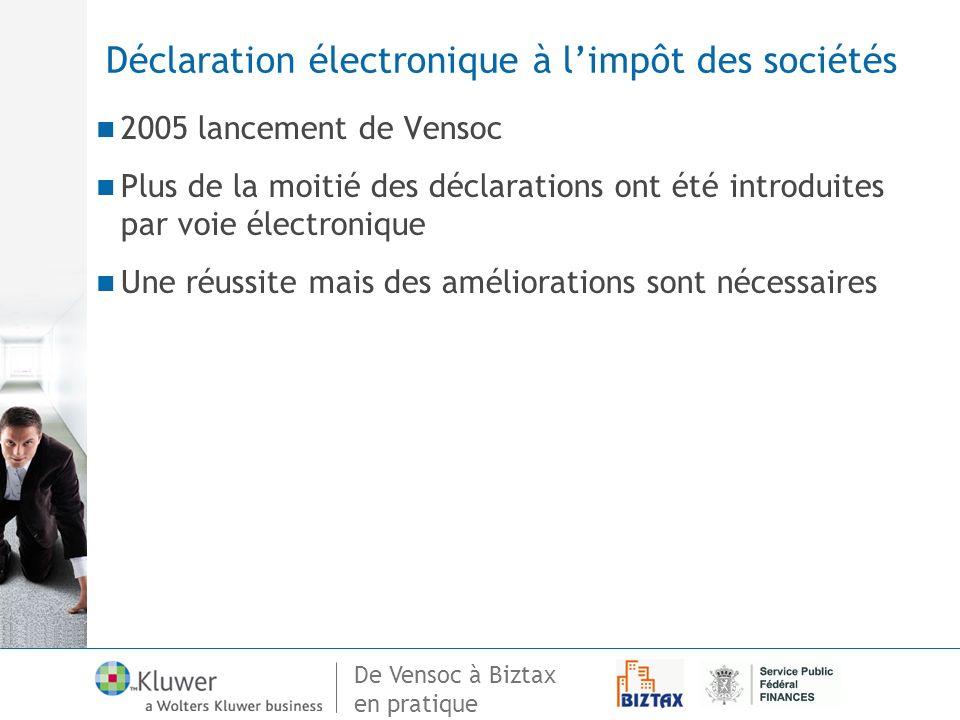 De Vensoc à Biztax en pratique Déclaration électronique à limpôt des sociétés 2005 lancement de Vensoc Plus de la moitié des déclarations ont été intr