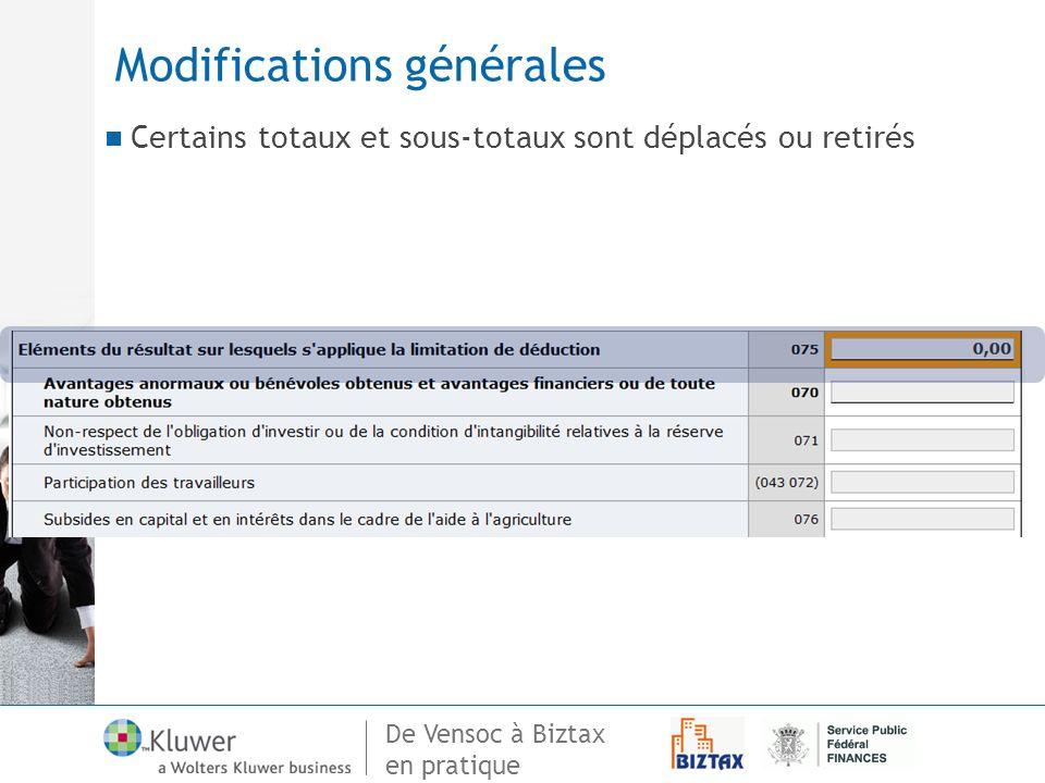 De Vensoc à Biztax en pratique Modifications générales Certains totaux et sous-totaux sont déplacés ou retirés