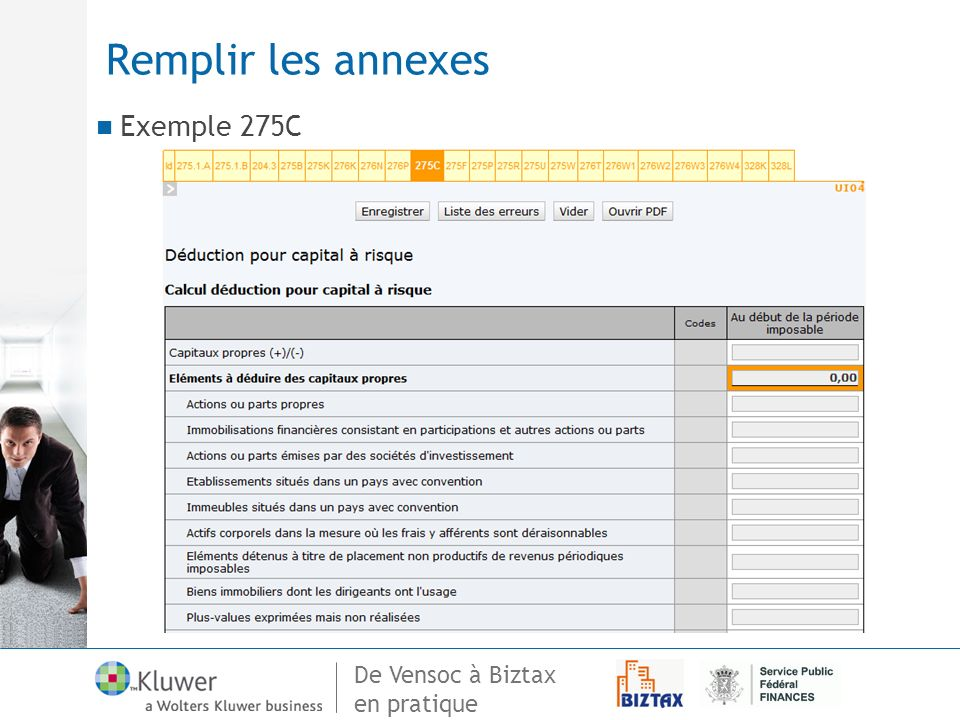 De Vensoc à Biztax en pratique Remplir les annexes Exemple 275C