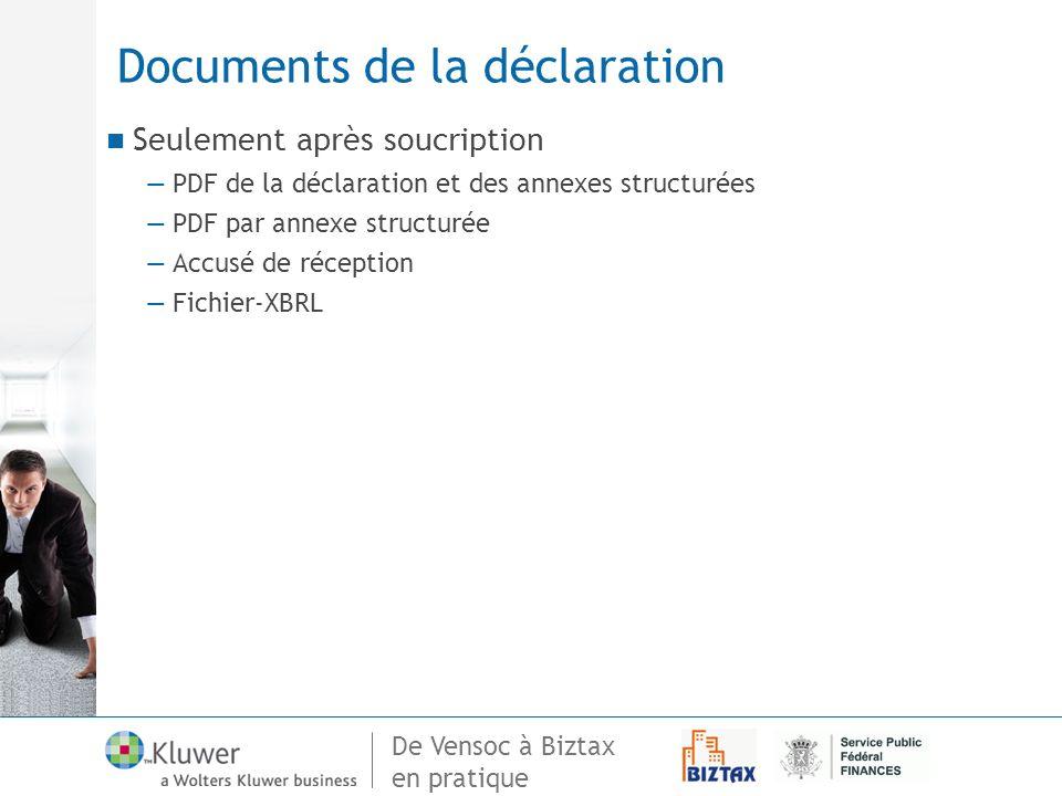 De Vensoc à Biztax en pratique Documents de la déclaration Seulement après soucription PDF de la déclaration et des annexes structurées PDF par annexe