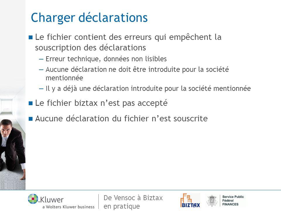 De Vensoc à Biztax en pratique Charger déclarations Le fichier contient des erreurs qui empêchent la souscription des déclarations Erreur technique, d