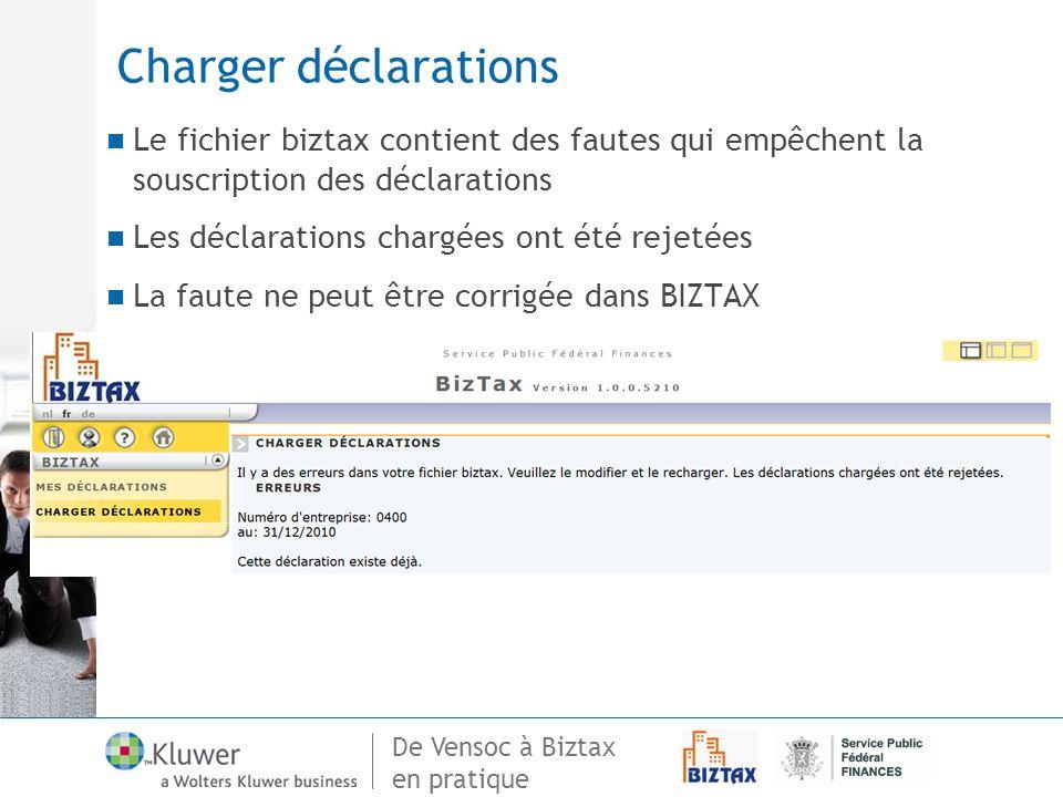 De Vensoc à Biztax en pratique Charger déclarations Le fichier biztax contient des fautes qui empêchent la souscription des déclarations Les déclarati