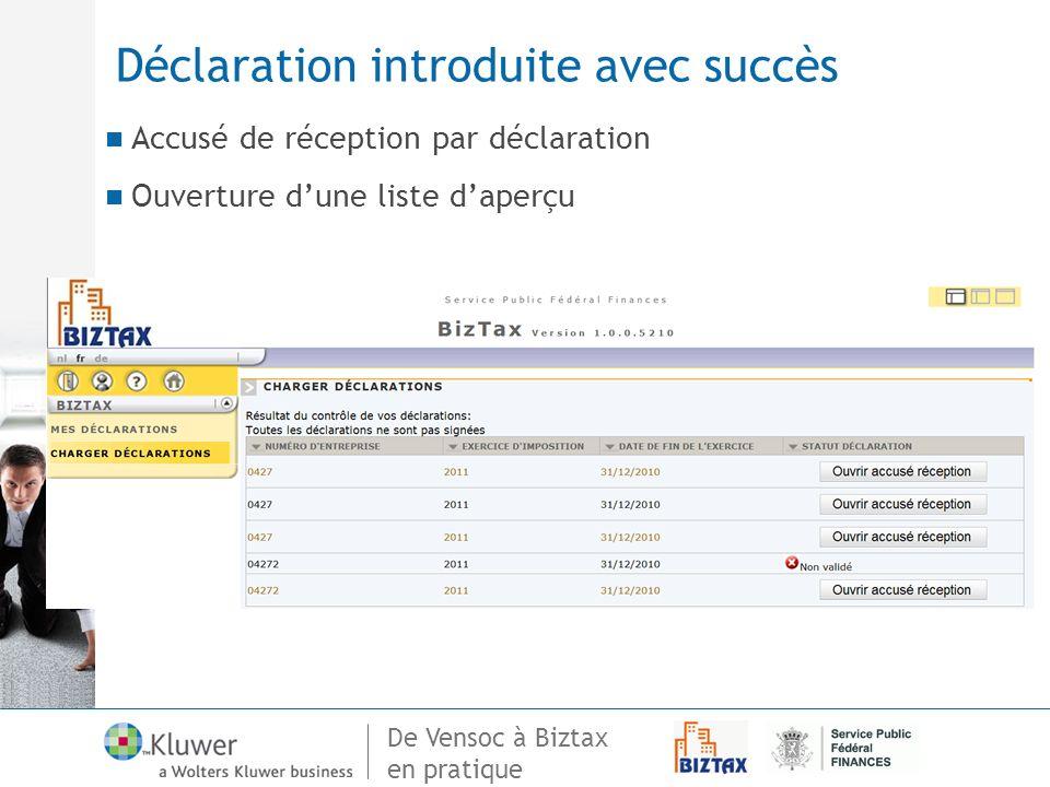 De Vensoc à Biztax en pratique Déclaration introduite avec succès Accusé de réception par déclaration Ouverture dune liste daperçu