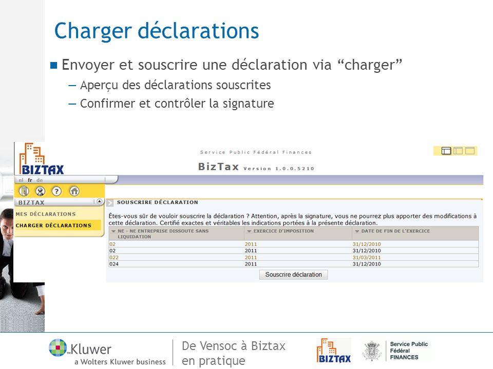De Vensoc à Biztax en pratique Charger déclarations Envoyer et souscrire une déclaration via charger Aperçu des déclarations souscrites Confirmer et c