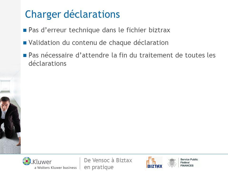 De Vensoc à Biztax en pratique Charger déclarations Pas derreur technique dans le fichier biztrax Validation du contenu de chaque déclaration Pas néce