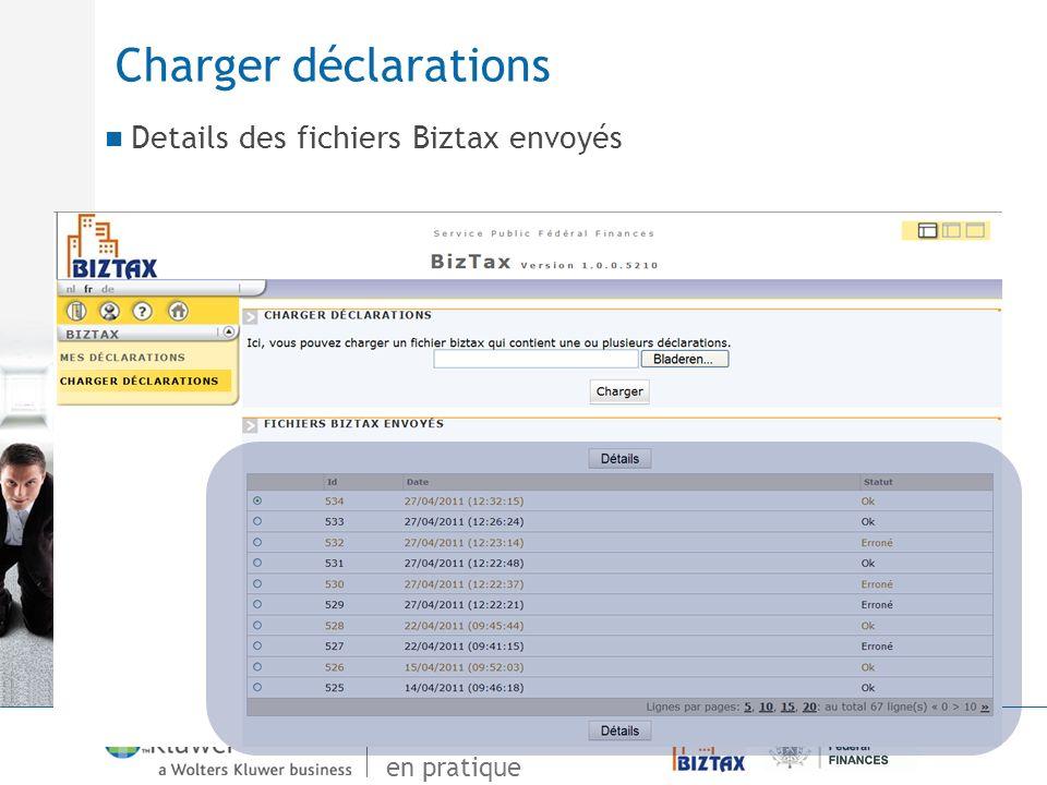 De Vensoc à Biztax en pratique Charger déclarations Details des fichiers Biztax envoyés