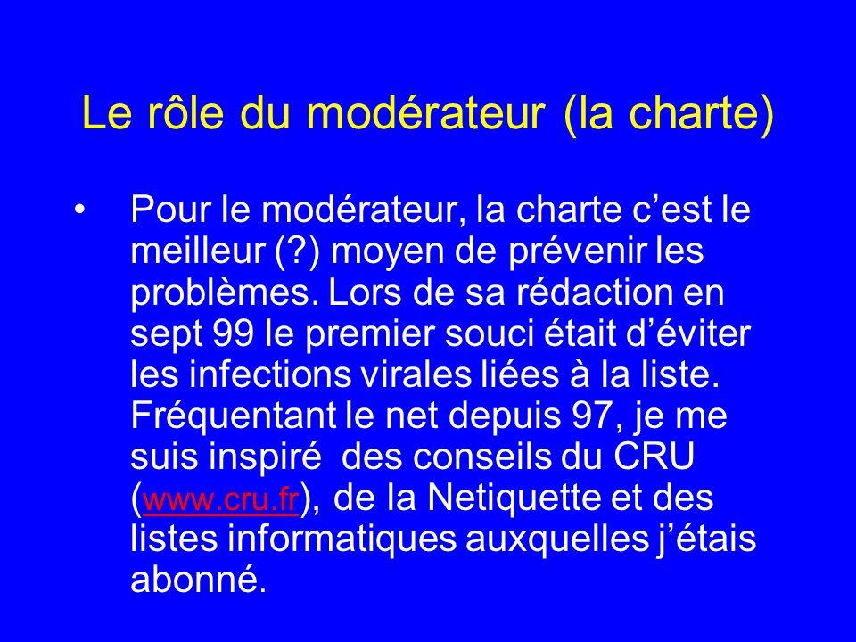 Le rôle du modérateur (la charte) Pour le modérateur, la charte cest le meilleur (?) moyen de prévenir les problèmes. Lors de sa rédaction en sept 99